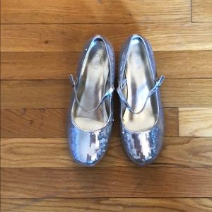 Girls Silver Sequence Shoes Size 5